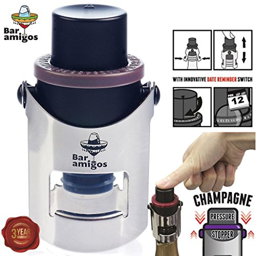 Bar Amigos Champagne Pressure Stopper Grey - Saver Pump Sealer Preserver With Patented Technology And Innovative Date Reminder Switch To Keep Your Bottle Of Sparkling Wine Fresh For 7 Days