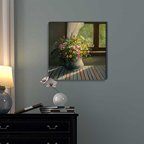 A Bouquet of Wild Field Flowers Caressed by a Sunbeam Trough the Window in Oil Painting Style Wall Decor
