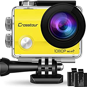 "Crosstour Action Camera Underwater Cam WiFi 1080P Full HD 12MP Waterproof 30m 2"" LCD 170°Wide-angle Sports Camera with 2 Rechargeable 1050mAh Batteries and Mounting Accessory Kits (Yellow)"