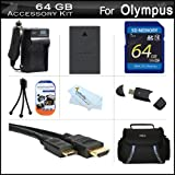 64GB Accessories Kit For Olympus E-PL5 Interchangeable Lens Digital Camera Includes 64GB High Speed SD Memory Card + Extended Replacement (1400 maH) BLS-5 Battery + AC/DC Travel Charger + Mini HDMI Cable + USB 2.0 Reader + Case + Screen Protectors + More