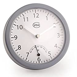 Cirbic Bathroom Wall Clock Suction Cups - Water Resistant, Analog Fahrenheit Thermometer, Great for Shower or Bath (Grey)