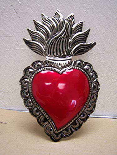 (Large Painted Tin Sacred Heart with Wavy Flames 4.25
