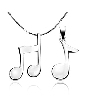 Leyu Couples Necklace Sets Sterling Silver Music Note Pendant Charm Relationship Necklace For Women Men