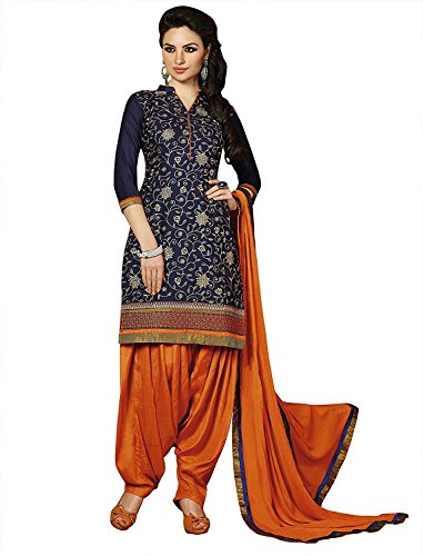 Laxminarayan Cotton Embroidered Patiala Salwar Suit with Nazmeen Dupatta for Women (0X-Plus, Blue) ()