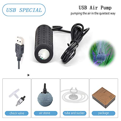 Fish Usb - Mylivell Portable Ultra Silent Aquarium Air Pump Mini USB Oxygen Air Pump Hydroponic Oxygen Mute Energy Saving Supplies for Fish Tank with Air Stone &Tube