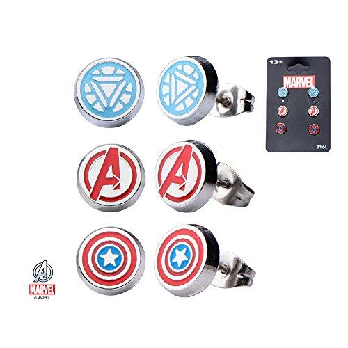 Hanging Reactor (Comics Stainless Steel Avenger Logo, Cap Shield, Arc Reactor Stud Earrings)