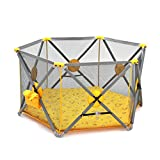 Portable Toddler Playpen With Floor Mat, Play Yard Foldable Baby Girls Fence Play Area 6 Panel Indoor Outdoor Home Kids Activity Centre, Yellow