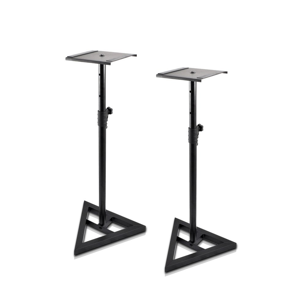 "Pyle Universal Monitor Speaker Stands - Heavy Duty Studio Speakers Holder 9"" Metal Square Platform 26"" - 52"" Telescopic Height Adjustment & Three-Point Triangle Base Plate w/Floor Spikes - AZPSTND35"