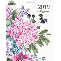 2019 Weekly Planner: Calendar Schedule Organizer and Journal Notebook With Inspirational Quotes And  Blooming Hydrangea and garden flowers, botanical ... Illustration on white in watercolor style.
