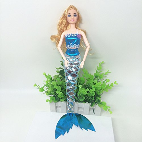 Shrimp On The Barbie Costume (Lanlan Sea Princess Clothes Mermaid Costume Bra & Dress with Magic Stick For 11inches Barbie Doll (Clothes Only) Blue)