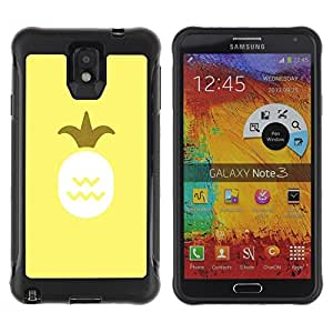 Suave TPU Caso Carcasa de Caucho Funda para Samsung Note 3 / Pineapple Art Oil Paint Yellow Fruit / STRONG