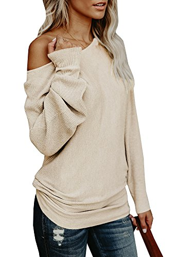 (Umeko Womens Off The Shoulder Sweater Oversized Knit Long Sleeve Sweaters Tunic Tops (Small, Khaki))