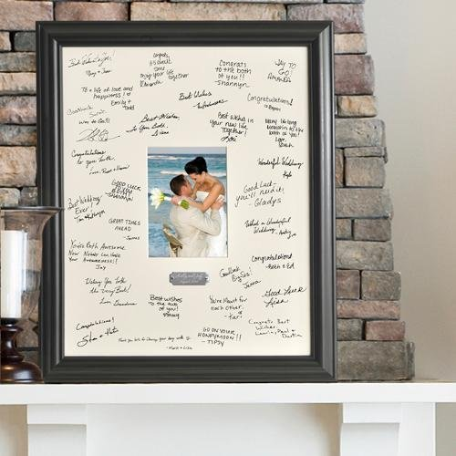 Creative Structures Personalized Gift - Wedding Wishes Signature Guest Book Picture Photo/Photograph Frame - With Engraved Brushed Silver Plate
