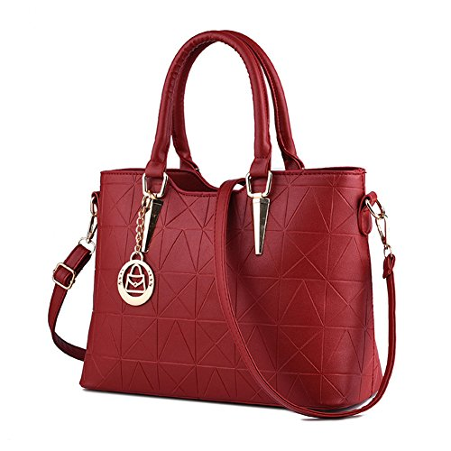 LIZHIGU Womens Leather Shoulder Bag Tote Purse Fashion Top Handle Satchel Handbags Wine Red