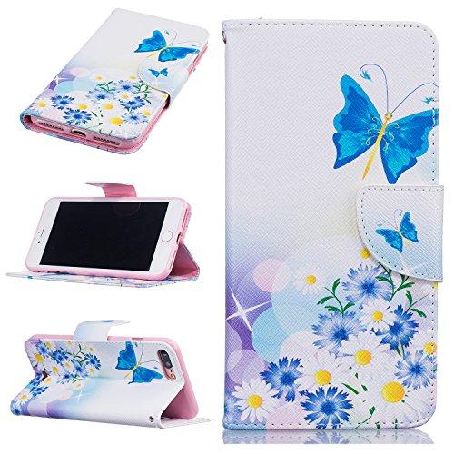Voguecase® für Apple iPhone 7 Pro hülle,(Blau Schmetterling 02) Kunstleder Tasche PU Schutzhülle Tasche Leder Brieftasche Hülle Case Cover + Gratis Universal Eingabestift