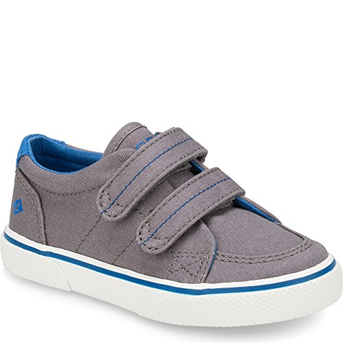 Sperry Boys' Halyard Hook and Loop Boat Shoe, Grey, 8 M US Toddler