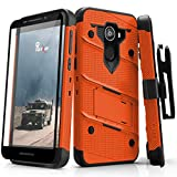 Jitterbug Smart2 Heavy Duty Case Military Grade Holster Belt Clip Phone Cover with Kickstand 12 ft Drop Tested w/Tempered Glass Screen Protector Compatible Greatcall Smart 2 (2018) (Orange)