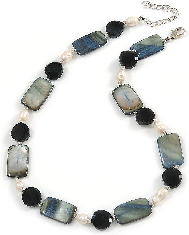 Avalaya - Collar de perlas de cristal negro, concha gris, crema de agua dulce con cierre de tono plateado, 44 cm de largo y 5 cm de extensión