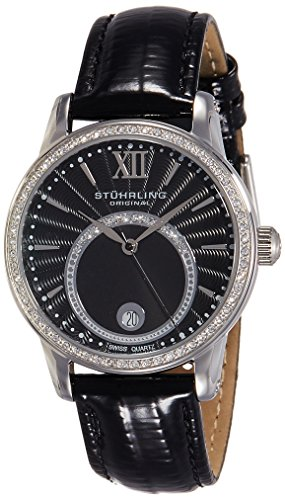 Stuhrling Original Women's 544.11151 Vogue Audrey Dawn Swiss Quartz Swarovski Crystal Date Black Leather Strap Watch