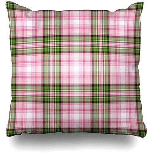 Staronov Throw Pillow Cover Mauve Green Cabin Plaid Pattern Abstract Pink Country Check Checkered Cherry Chic Classic Design Home Decor Design Square Size 18x18 Inches Zippered Cushion Case (Classic Print Pillow Pack)
