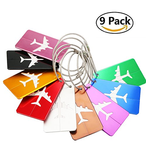 Youtumall 9 Pack Travel Luggage Tags, Bag Tag Travel ID Labels Tag For Baggage Suitcases Bags (Square)