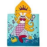 Hooded Towel for Girls 2 to 7 Years Old Kids Ultra Soft Cotton, Super Absorbent Use for Bath/Pool/Beach Times, Mermaid