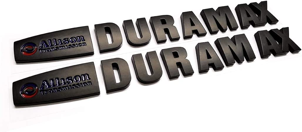 2pcs Allison Duramax Badges Emblems Replacement for Gm 2015 Silverado 2500hd 3500hd Hood Emzscar Black