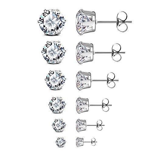 JewelrieShop Women Stud Earrings Set Surgical Stainless Steel Cubic Zirconia Earrings Hypoallergenic Piercing Earrings for Men (6 Pairs, 3-8mm, White CZ, Silver)
