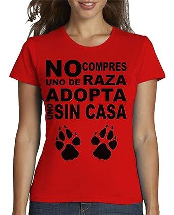 latostadora - Camiseta No Compres Uno de Raza para Mujer Rojo XL: nicausio: Amazon.es: Ropa y accesorios