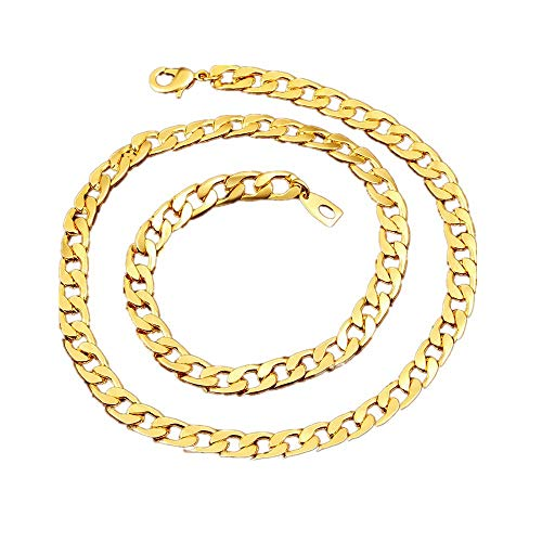 BoomYou Fake Gold Chain Necklace 18K Faux Gold Plated Twist Rope Jewelry - 7mm - Gold