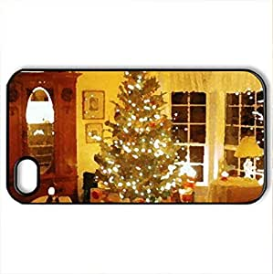 Christmas home - Case Cover for iPhone 4 and 4s (Houses Series, Watercolor style, Black)