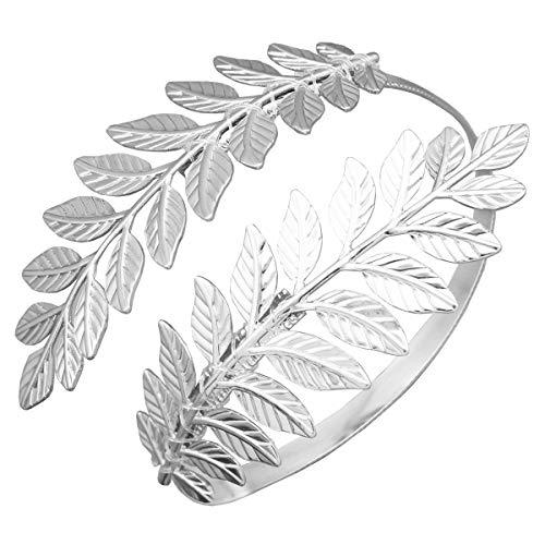 RIVERTREE Greek Goddess Silver Leaf Branch Upper Arm Cuff Costume Open Arm Bracelet Armlet Armband Bangle