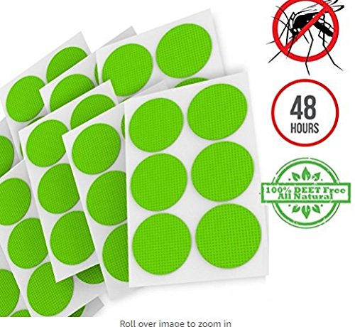 Mosquito Repellent Patches: 60 Count - 100% Natural, Citronella, Essential Oil and Eucalyptus - Absolutely Safe to Use, Non-Toxic DEET Free - One Patch Works for 24-48 Hrs