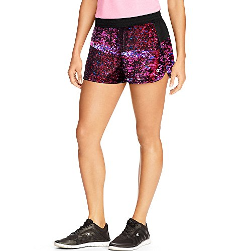 Champion Women's Printed Sport Shorts 5_Jazzy Red Further Blurred/Black_M
