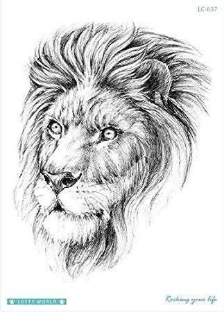 HXMAN Leopard Tattoo Lion Falso Tatuaje Tigre Temporal Tatuaje ...
