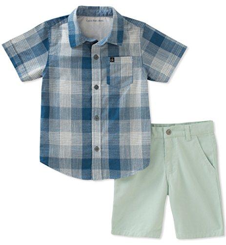 - Calvin Klein Baby Boys 2 Pieces Shirt Shorts Set, Blue/Green, 3-6 Months