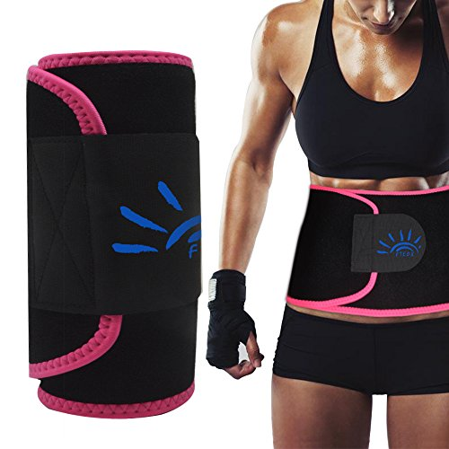 Waist Trimmer,Waist Trainer Stomach Fat Burner Ab Belt Waist Trimmer Sweat Belt Lose Belly Fat Body Shapers Wrapper Back Lumbar Support with Sauna Suit for Men&Women Weight Loss (Pink,Medium 39''x8'')