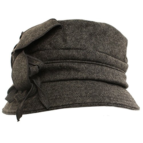 Winter Wool Floral Leaves Crushable Foldable Bucket Cloche Church Hat Cap Gray (Crushable Bucket Hat)