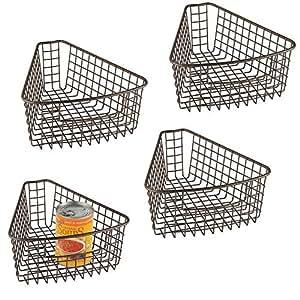 mDesign Juego de 4 cestas de almacenaje para bandejas giratorias ...
