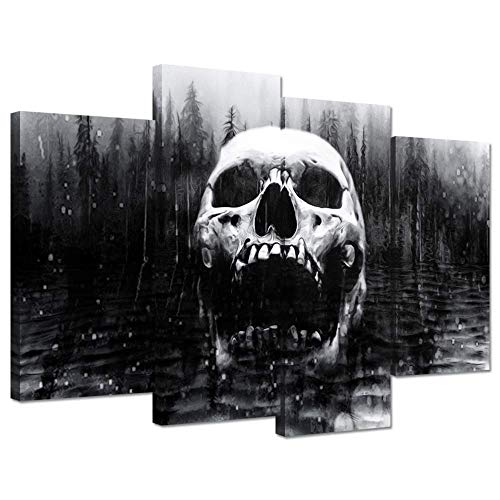 Hello Artwork Halloween Day of Dead Skull in Dark Foggy Lake Abstract Black and White Contemporary Picture Print On Canvas 4 Panel Large Canavs Framed Wall Art For Modern Home Decoration Ready to Hang