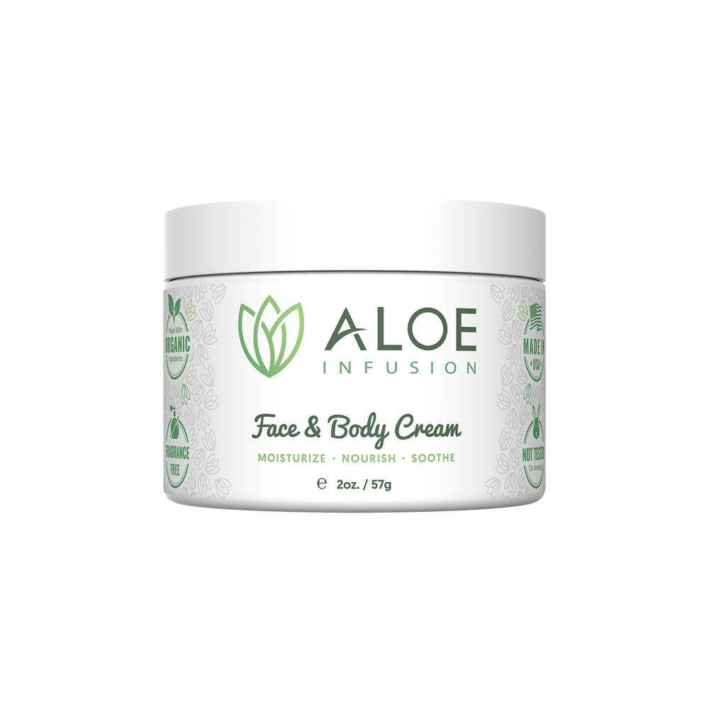 Aloe Infusion Body and Face Moisturizer - All Natural Eczema Cream for Itchy Dry Skin, Sensitive Skin, Acne and Psoriasis - Organic Aloe Vera, Shea Butter, Coenzyme Q10, Grape Seed Oil, Kukui Nut Oil by Aloe Infusion