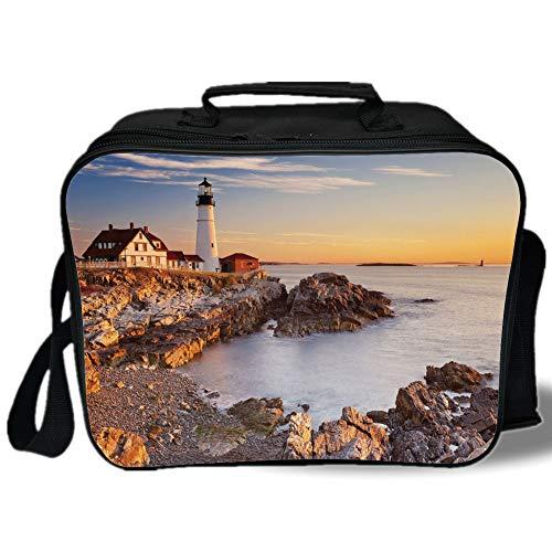 Insulated Lunch Bag,United States,Cape Elizabeth Maine River Portland Lighthouse Sunrise USA Coast Scenery,Light Blue Tan,for Work/School/Picnic, Grey