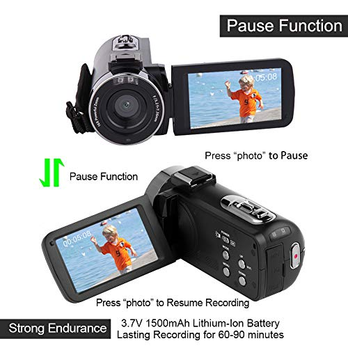 Camcorder Video Camera Full HD 1080P 30 FPS IR Night Vision Vlogging Camera  3 0 Inch IPS Screen 16X Digital Zoom Digital Camera with Remote Control