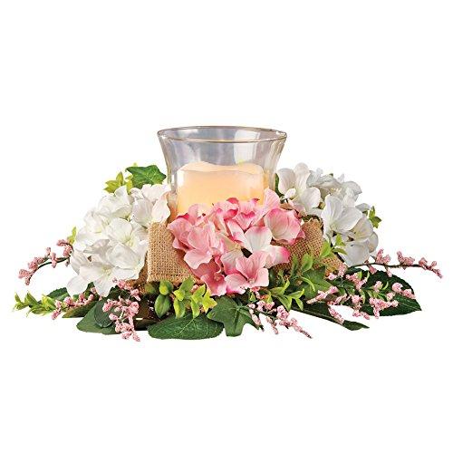 Collections Etc Spring Garden Candle Holder Floral Centerpiece w/Burlap (Spring Centerpieces)