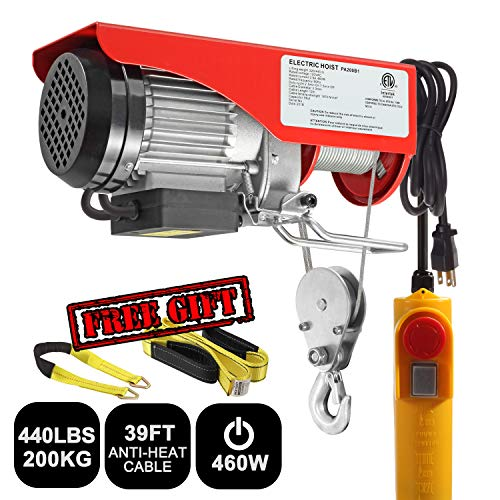 Partsam 440 lbs Lift Electric Hoist Crane Remote Control Power System, Zinc-Plated Steel Wire Overhead Crane Garage Ceiling Pulley Winch w/Premium Straps (UL/CUL Approval, w/Emergency Stop Switch) - Electric Power Chain Hoists