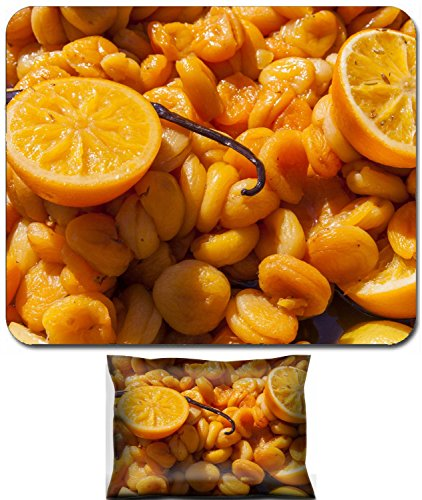 Luxlady Mouse Wrist Rest and Small Mousepad Set, 2pc Wrist Support design IMAGE: 22556179 Organic apricots with oranges and vanilla sticks cooked in white wine closeup selective -