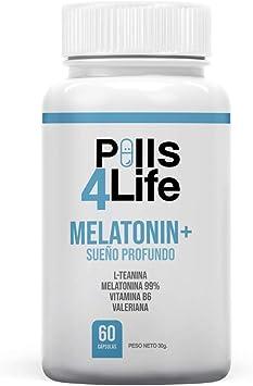 Melatonina 99% Pura, L-Teanina, Vitamina B6 y Valeriana | Mejora la calidad y Fomenta