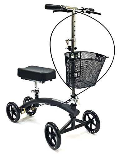 BodyMed Folding Knee Scooter with Dual Braking System and Basket - Great Alternative to Crutches - Broken Leg Walker -