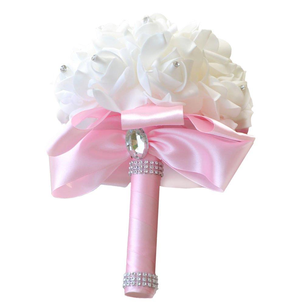 Amazon.com: Loriver Wedding Bouquet Crystal Silk Roses Bridal ...