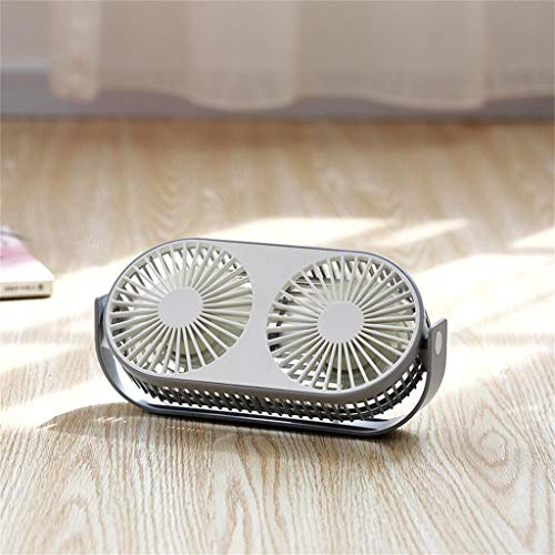 Maikouhai Mini Fan Double Head Portable 360 Rotation Car Desktop Cooling USB Charging - 5V, 0.4-1.6A, 2-7W, Plastic Material (Gray)